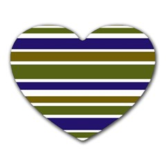 Olive Green Blue Stripes Pattern Heart Mousepads