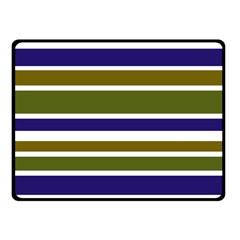 Olive Green Blue Stripes Pattern Fleece Blanket (Small)
