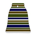 Olive Green Blue Stripes Pattern Ornament (Bell)  Front