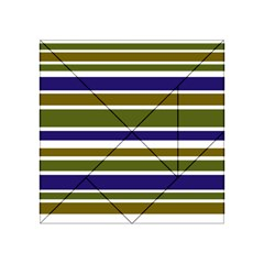 Olive Green Blue Stripes Pattern Acrylic Tangram Puzzle (4  x 4 )