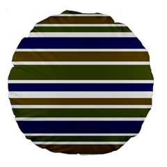 Olive Green Blue Stripes Pattern Large 18  Premium Round Cushions