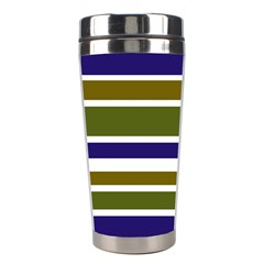 Olive Green Blue Stripes Pattern Stainless Steel Travel Tumblers