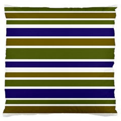 Olive Green Blue Stripes Pattern Standard Flano Cushion Case (Two Sides)