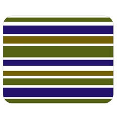 Olive Green Blue Stripes Pattern Double Sided Flano Blanket (Medium)
