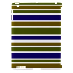 Olive Green Blue Stripes Pattern Apple iPad 3/4 Hardshell Case (Compatible with Smart Cover)