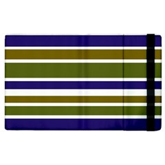 Olive Green Blue Stripes Pattern Apple iPad 2 Flip Case
