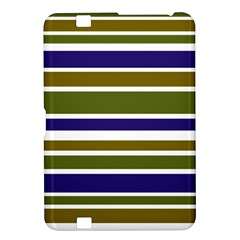Olive Green Blue Stripes Pattern Kindle Fire HD 8.9
