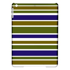 Olive Green Blue Stripes Pattern iPad Air Hardshell Cases