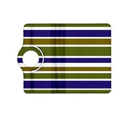 Olive Green Blue Stripes Pattern Kindle Fire HD (2013) Flip 360 Case