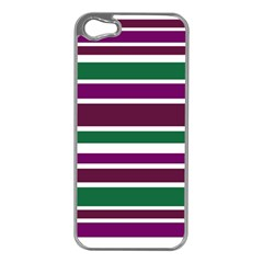 Purple Green Stripes Apple iPhone 5 Case (Silver)