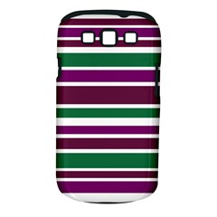 Purple Green Stripes Samsung Galaxy S III Classic Hardshell Case (PC+Silicone)