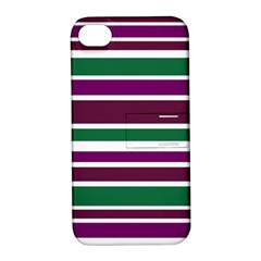 Purple Green Stripes Apple iPhone 4/4S Hardshell Case with Stand