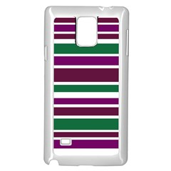 Purple Green Stripes Samsung Galaxy Note 4 Case (White)