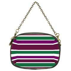 Purple Green Stripes Chain Purses (Two Sides)