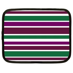 Purple Green Stripes Netbook Case (XL)