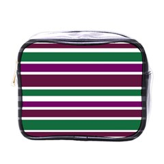 Purple Green Stripes Mini Toiletries Bags