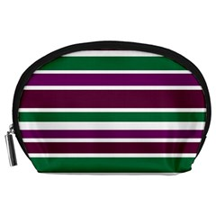 Purple Green Stripes Accessory Pouches (Large)