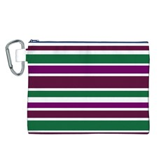 Purple Green Stripes Canvas Cosmetic Bag (L)