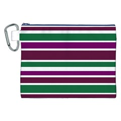 Purple Green Stripes Canvas Cosmetic Bag (XXL)