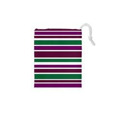Purple Green Stripes Drawstring Pouches (XS)