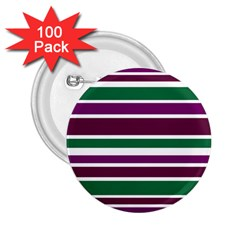 Purple Green Stripes 2.25  Buttons (100 pack)