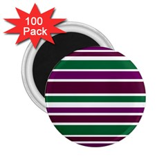 Purple Green Stripes 2.25  Magnets (100 pack)