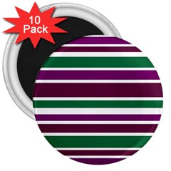 Purple Green Stripes 3  Magnets (10 pack)