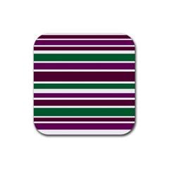 Purple Green Stripes Rubber Coaster (Square)