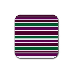 Purple Green Stripes Rubber Square Coaster (4 pack)