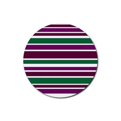 Purple Green Stripes Rubber Round Coaster (4 pack)