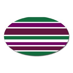 Purple Green Stripes Oval Magnet