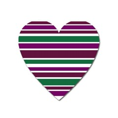 Purple Green Stripes Heart Magnet