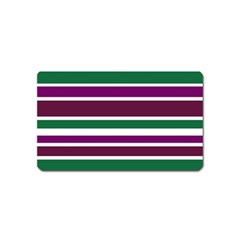Purple Green Stripes Magnet (Name Card)