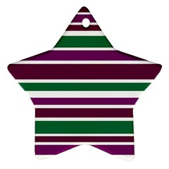 Purple Green Stripes Star Ornament (Two Sides)