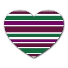 Purple Green Stripes Heart Mousepads