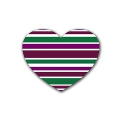 Purple Green Stripes Rubber Coaster (Heart)