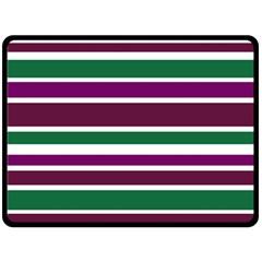 Purple Green Stripes Fleece Blanket (Large)