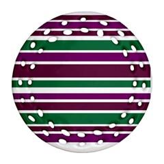 Purple Green Stripes Ornament (Round Filigree)