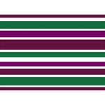 Purple Green Stripes Birthday Cake 3D Greeting Card (7x5)  Front