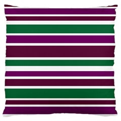 Purple Green Stripes Large Cushion Case (Two Sides)