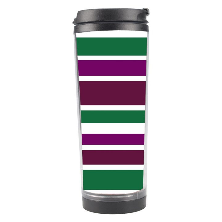 Purple Green Stripes Travel Tumbler