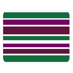 Purple Green Stripes Double Sided Flano Blanket (Large)