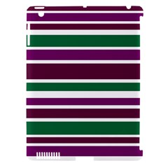 Purple Green Stripes Apple iPad 3/4 Hardshell Case (Compatible with Smart Cover)