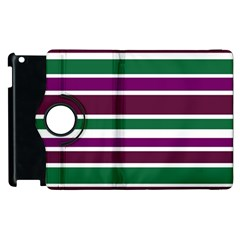 Purple Green Stripes Apple iPad 3/4 Flip 360 Case