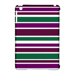Purple Green Stripes Apple iPad Mini Hardshell Case (Compatible with Smart Cover)