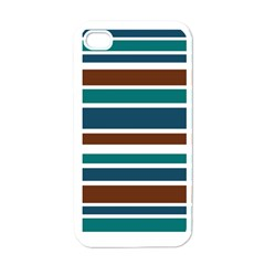 Teal Brown Stripes Apple iPhone 4 Case (White)