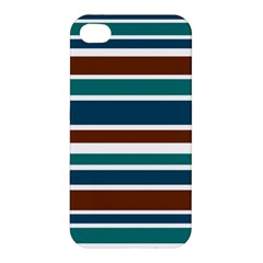 Teal Brown Stripes Apple iPhone 4/4S Premium Hardshell Case
