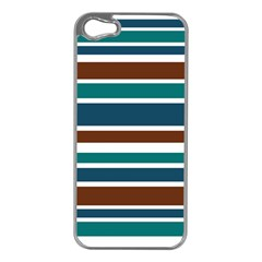 Teal Brown Stripes Apple iPhone 5 Case (Silver)
