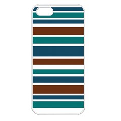 Teal Brown Stripes Apple iPhone 5 Seamless Case (White)