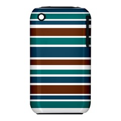 Teal Brown Stripes Apple iPhone 3G/3GS Hardshell Case (PC+Silicone)